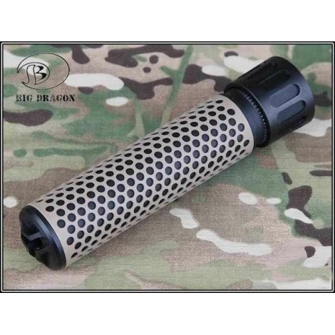 BIG DRAGON SILENZIATORE KAC STYLE QDC AIRSOFT QUICK DETACH SUPPRESSOR MIX NERO / TAN - BIG DRAGON