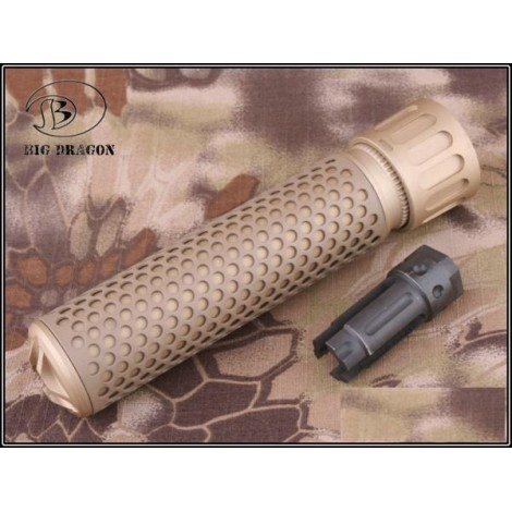 BIG DRAGON SILENZIATORE KAC STYLE QDC AIRSOFT QUICK DETACH SUPPRESSOR TAN - BIG DRAGON