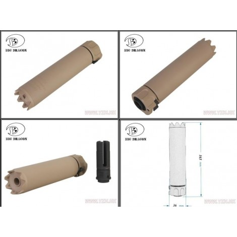 BIG DRAGON SILENZIATORE SOCOM 556 MONSTER Silencer / 6.5 INCH DE TAN - BIG DRAGON