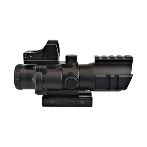 JS OTTICA ACOG 4 X CON MINI RED DOT NERA BLACK - JS TACTICAL