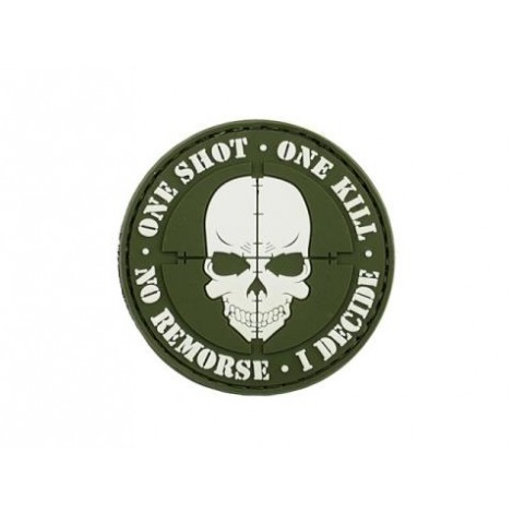 PATCH ONE SHOT ONE KILL PVC VELCRO PATCH VERDE OD -