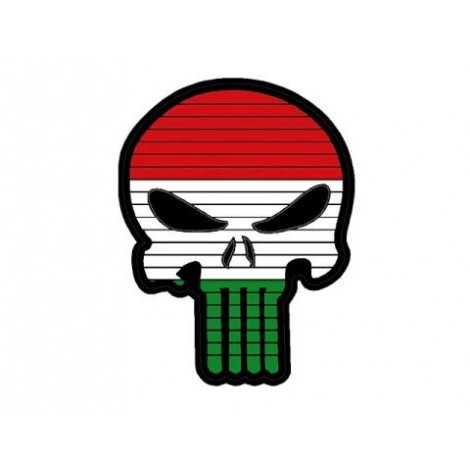 PATCH BANDIERA A FORMA DI TESCHIO FLAG SKULL UNGHERIA PVC VELCRO PATCH -