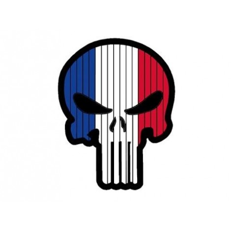 PATCH BANDIERA A FORMA DI TESCHIO FLAG SKULL FRANCIA PVC VELCRO PATCH -
