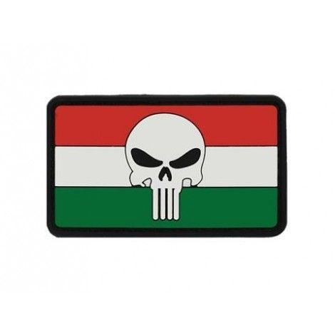 PATCH BANDIERA FLAG SKULL UNGHERIA PVC VELCRO PATCH -