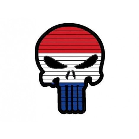 PATCH BANDIERA A FORMA DI TESCHIO FLAG SKULL OLANDA PVC VELCRO PATCH -