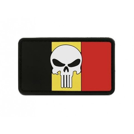 PATCH BANDIERA FLAG SKULL BELGIO PVC VELCRO PATCH -
