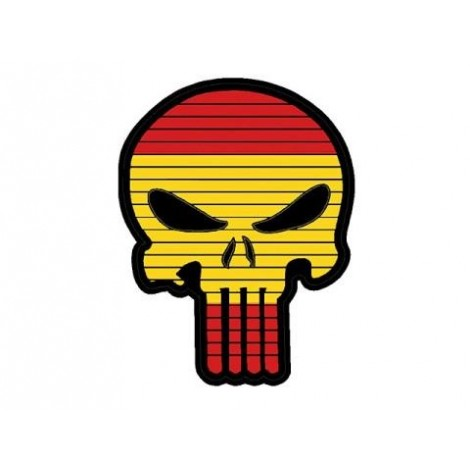 PATCH BANDIERA A FORMA DI TESCHIO FLAG SKULL SPAGNA PVC VELCRO PATCH -