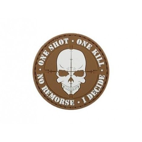 PATCH ONE SHOT ONE KILL PVC VELCRO PATCH TAN -