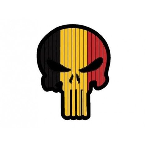 PATCH BANDIERA A FORMA DI TESCHIO FLAG SKULL BELGIO PVC VELCRO PATCH -