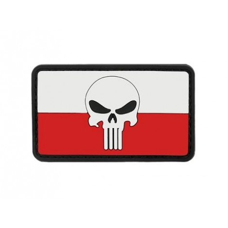 PATCH BANDIERA FLAG SKULL POLONIA PVC VELCRO PATCH -