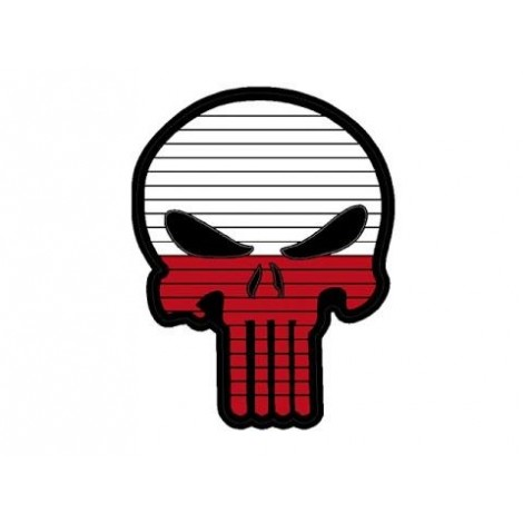 PATCH BANDIERA A FORMA DI TESCHIO FLAG SKULL POLONIA PVC VELCRO PATCH -