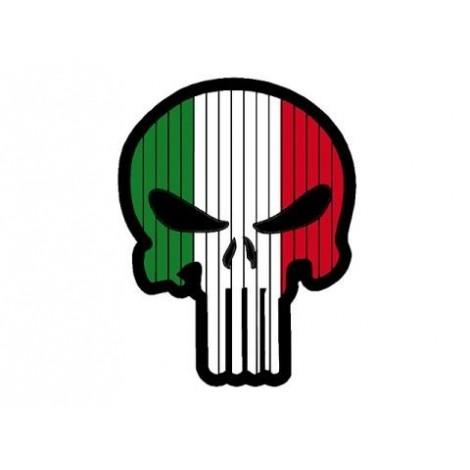 PATCH BANDIERA A FORMA DI TESCHIO FLAG SKULL ITALIA PVC VELCRO PATCH -