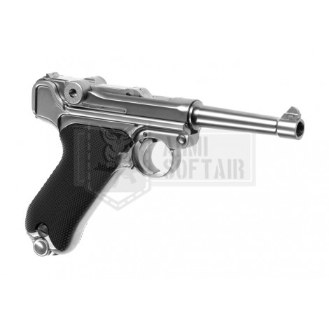 WE P08 GBB GAS BLOWBACK METAL SHORT ARGENTO SILVER - WE