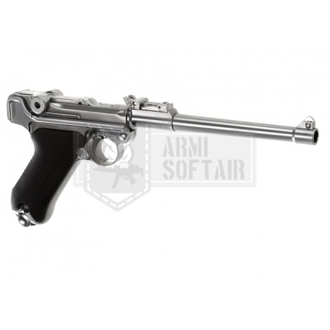 "WE P08 GBB GAS BLOWBACK METAL 8"" ARGENTO SILVER - WE"
