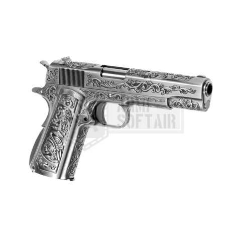 WE M1911 Etched MEXICAN CARTEL GBB GAS BLOWBACK METAL ARGENTO SILVER - WE
