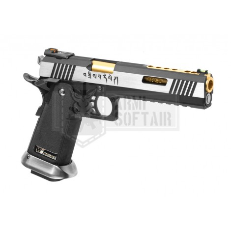 WE Hi-Capa 6 Force A GBB GAS BLOWBACK METAL ARGENTO CANNA ORO - WE