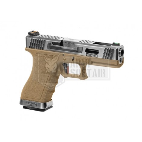 WE G17 Custom SV Silver GBB GAS BLOWBACK METAL TAN - WE