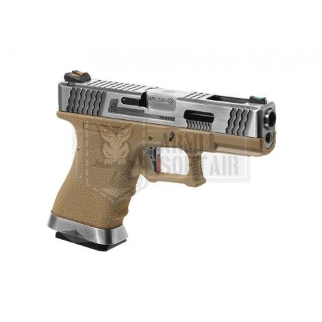 WE G19 Custom SV Silver Barrel GBB GAS BLOWBACK METAL TAN - WE