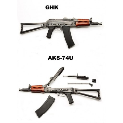 GHK AK AKS-74U GREEN GAS BLOWBACK GBB FULL METAL E VERO LEGNO - GHK