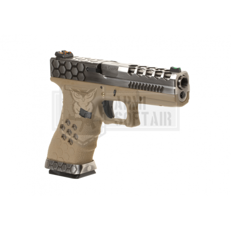 AW VX0110 G17 Hex-Cut GBB GAS FULL METAL TAN / SILVER - AW CUSTOM