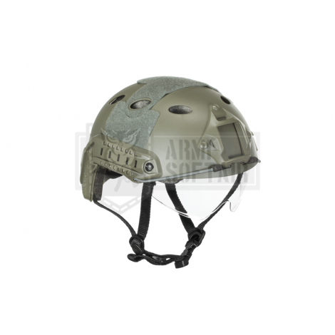 EMERSON ELMETTO HELMET FAST PJ GOOGLE CON LENTI VERSION VERDE FOLIAGE GREEN FG - EMERSON