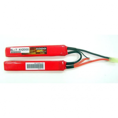 BILLOWY POWER BATTERIA DOPPIA LIPO 7 4 X 2000 CQB 20C CALCIO CRANE - BILLOWY POWER