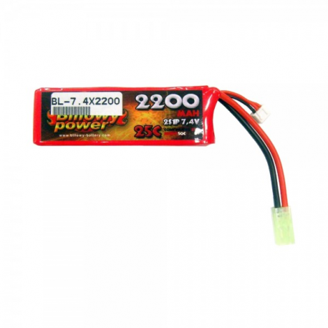 BILLOWY POWER BATTERIA LIPO 7.4 V X 2200 mHA 25C PANETTO RETTANGOLARE GRANDE - BILLOWY POWER