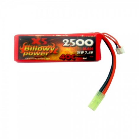 BILLOWY POWER BATTERIA LIPO 7.4 V X 2500 mHA 40C PANETTO RETTANGOLARE GRANDE - BILLOWY POWER