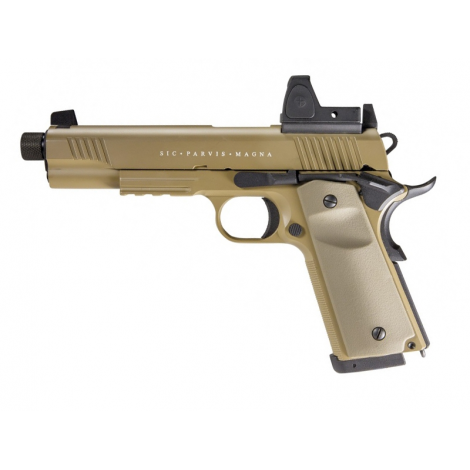 SECUTOR Rudis Magna 1911 CON RED DOT XII Custom Pistol Co2 Powered - Gas Ready - TAN DESERT - SECUTOR