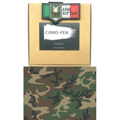 CAMO PEN VERNICE MIMETICA PENNARELLO PER FUCILI CAMO 5 X PEN MILITARY PAINT WOODLAND PACK KIT - CAMO PEN