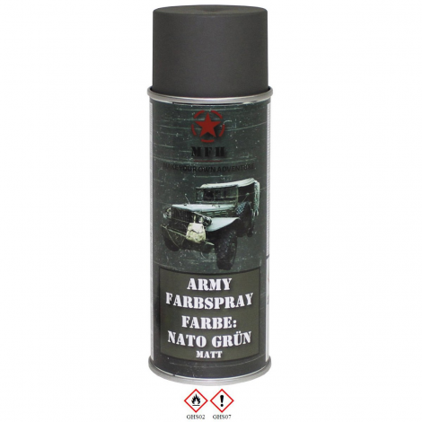 MFH VERNICE MIMETICA SPRAY 400 ml PER FUCILI CAMO MILITARY PAINT VERDE NATO GREEN - MFH