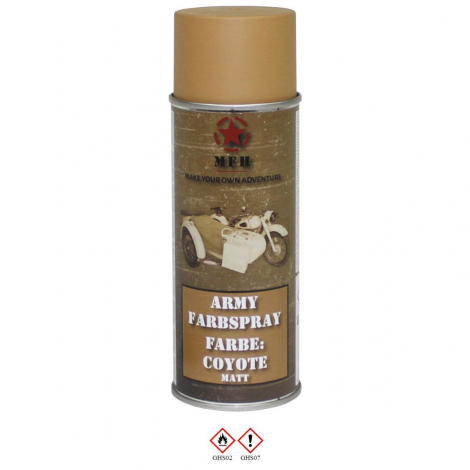 MFH VERNICE MIMETICA SPRAY 400 ml PER FUCILI CAMO MILITARY PAINT COYOTE CB - MFH