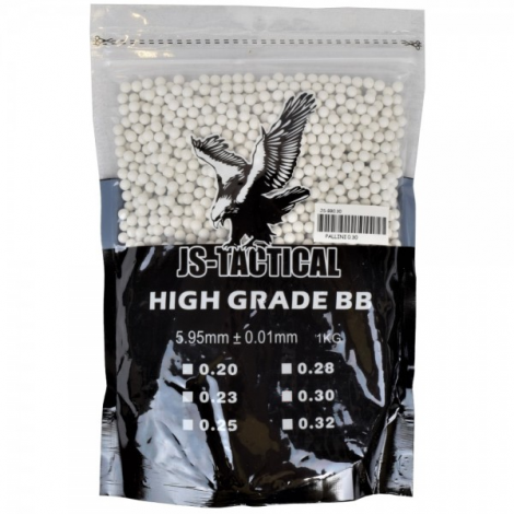 JS TACTICAL PALLINI BIANCO WHITE 0.23 g 1 Kg - JS TACTICAL