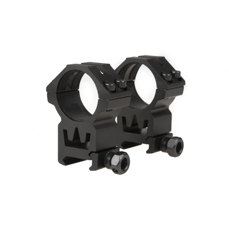 THETA 2 ANELLI ALTI OTTICA 30 mm Two-part 30mm optics mount for RIS rail (high) IN METALLO - THETA OPTICS