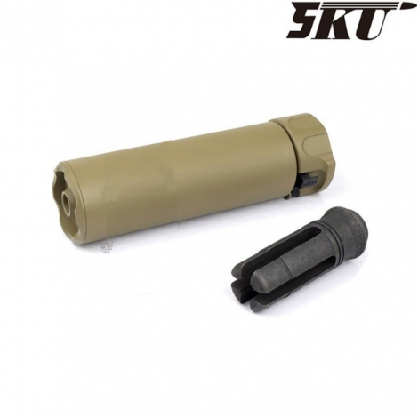 5KU SILENZIATORE SF 556 MINI SOCOM ver.2 14 mm- CCW WITH FLASH HIDER TAN DE FDE - 5KU