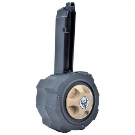 HFC CARICATORE DRUM A GAS PER SERIE GLOCK G17 G18 GBB 500bb NERO - HFC